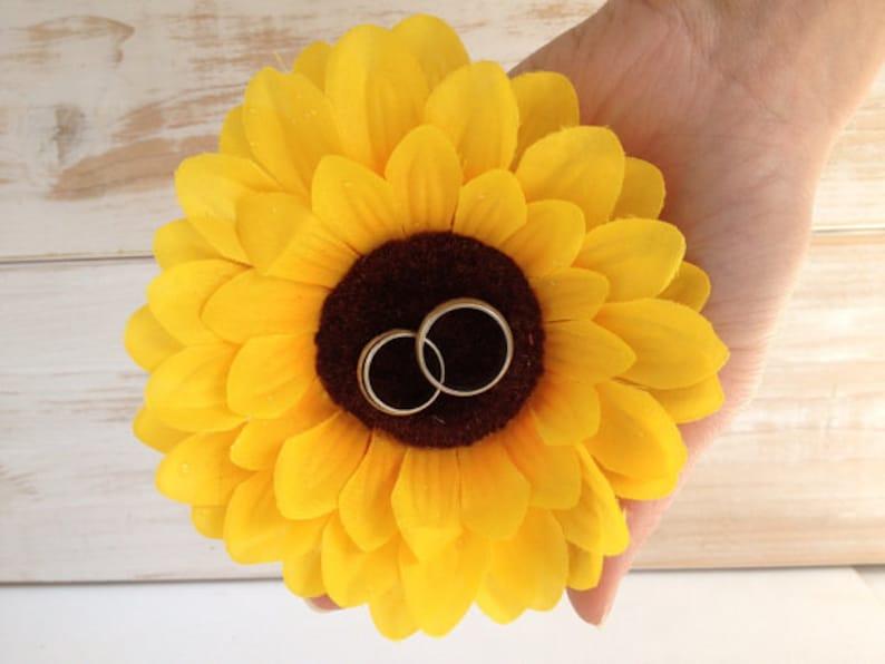 Wedding Ring Pillow Sunflower Wedding Ring Holder Ring Bearer image 0