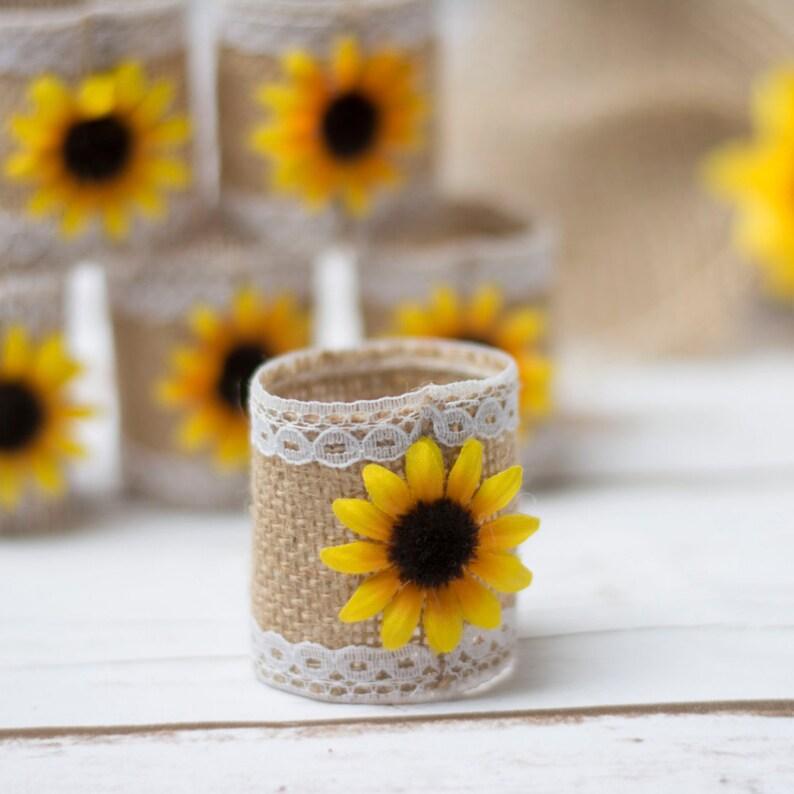 Sunflower Table Napkin Rings Rustic Wedding Napkins Ring image 0