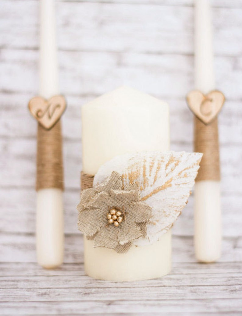 Unity Candle Set Ivory Unity Candle Rustic Wedding Ceremony image 0
