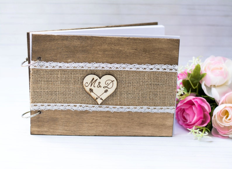 Wedding Guest Book Rustic Wedding Guestbook Rustic Wooden image 0