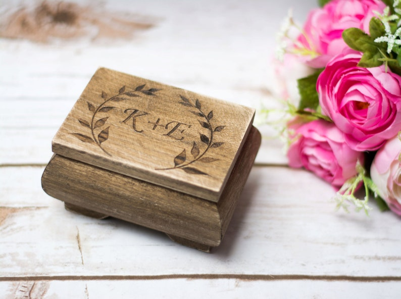 Personalized Ring Box Moss Rustic Wedding Ring bearer Wooden image 0