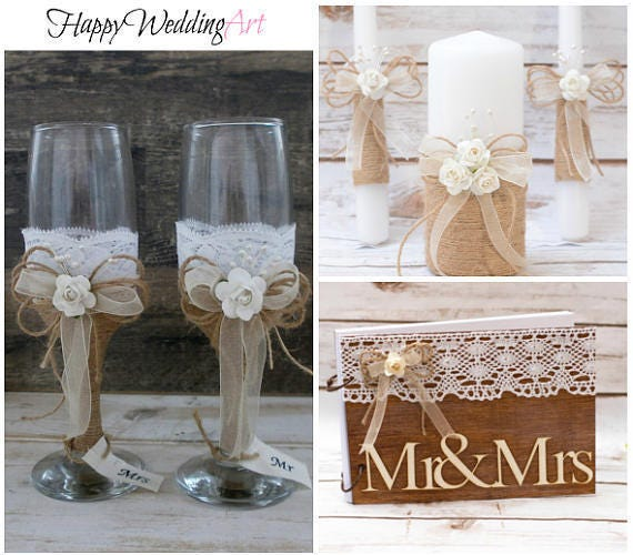 Guestbook Matrimonio Rustico : Matrimonio rustico guest set libro unità candela nozze