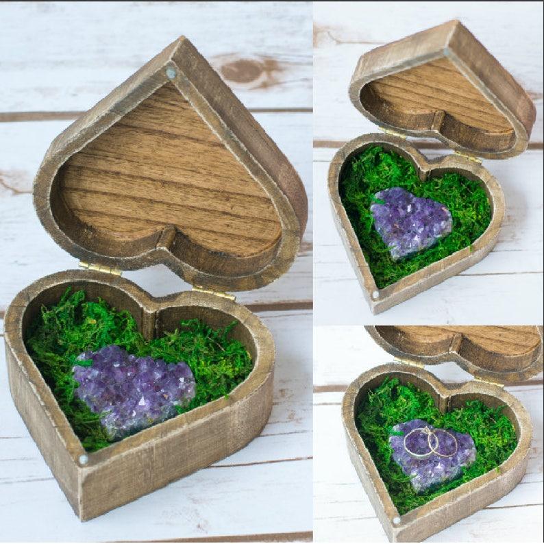 Amethyst Wedding Rustic Ring Box Bearer Wooden Ring Holder image 0
