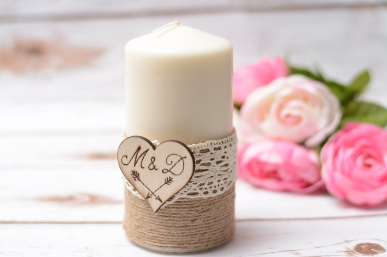 Wedding candle Personalized Rustic Unity Candle Vintage image 0