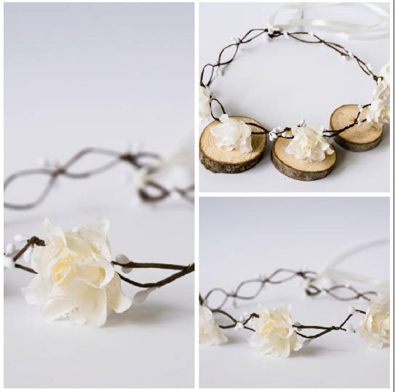 Ivory Roses Rustic Wedding Bridal Hair Wreath hairband image 0