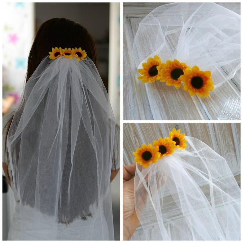 Bachelorette Veil Bridal Shower Veil Sunflower Party Accessory image 0