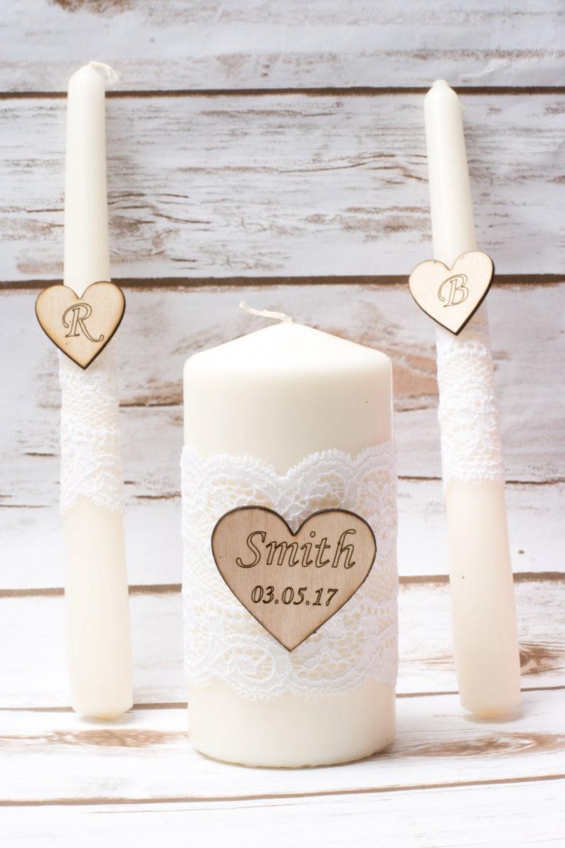 Wedding Unity Candle Set Rustic Unity Candle Set White Lace image 0