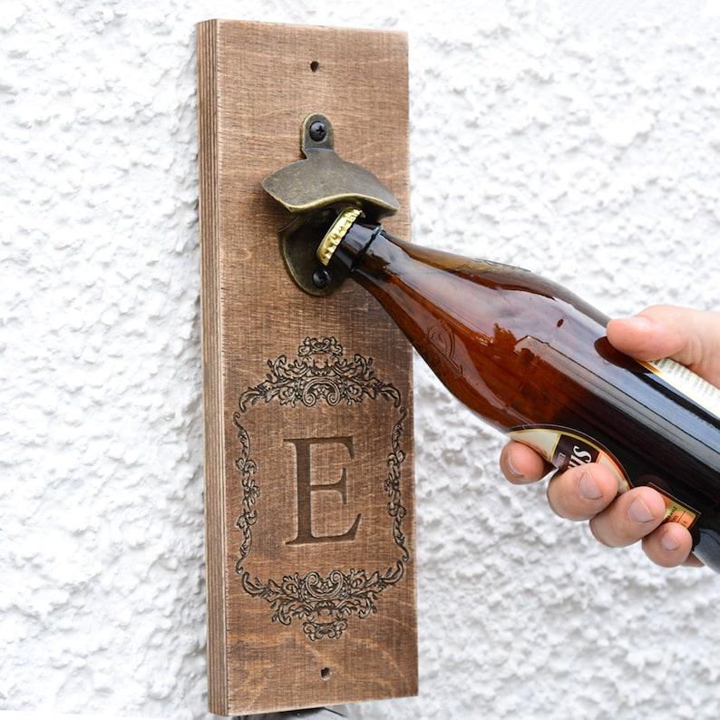 Wooden Bottle Opener Men   Gift for Him Opener Wall Groomsmen image 0