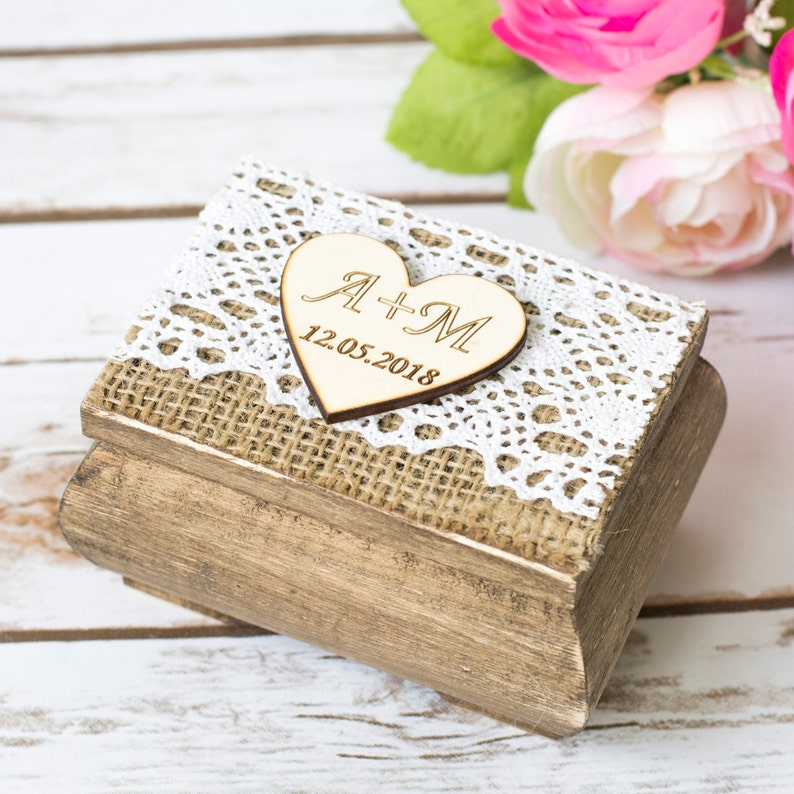 Wedding Ring Box Personalized Wooden Ring Pillow Rustic Ring image 0