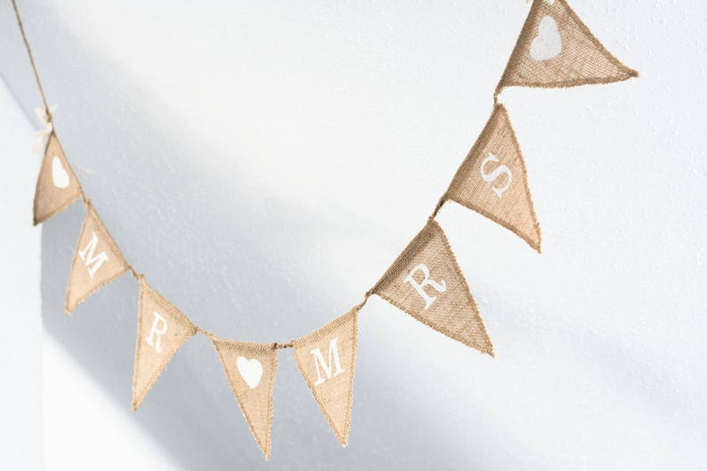 MR and Mrs Burlap Banner Rustic Wedding Banner Photo prop image 0