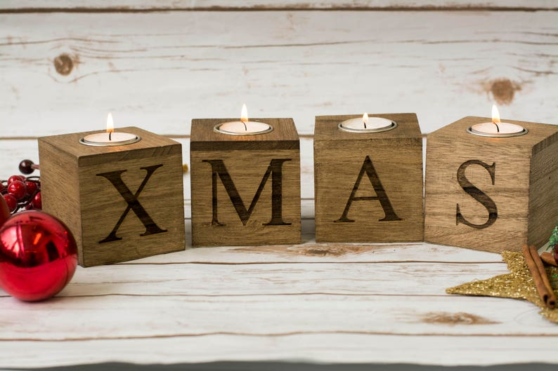 Christmas home decor Merry & Bright Christmas Candle Holders image 0