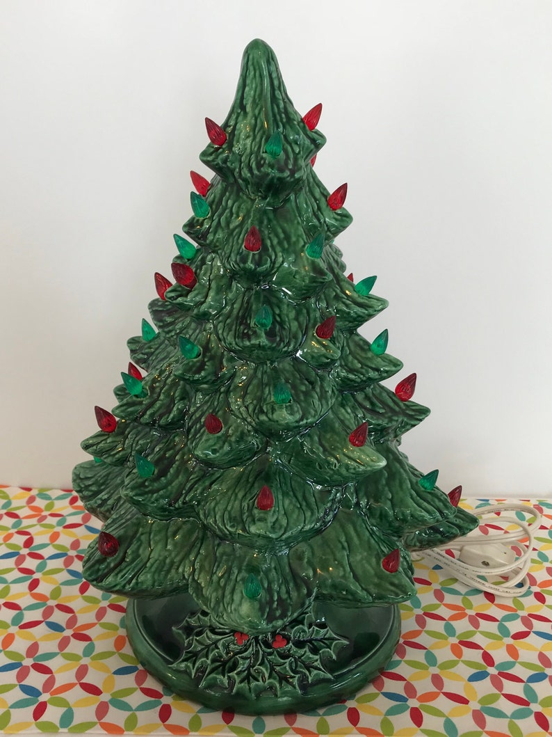 Vintage Ceramic Table Top Christmas Tree 13 Inch Red And Green Etsy