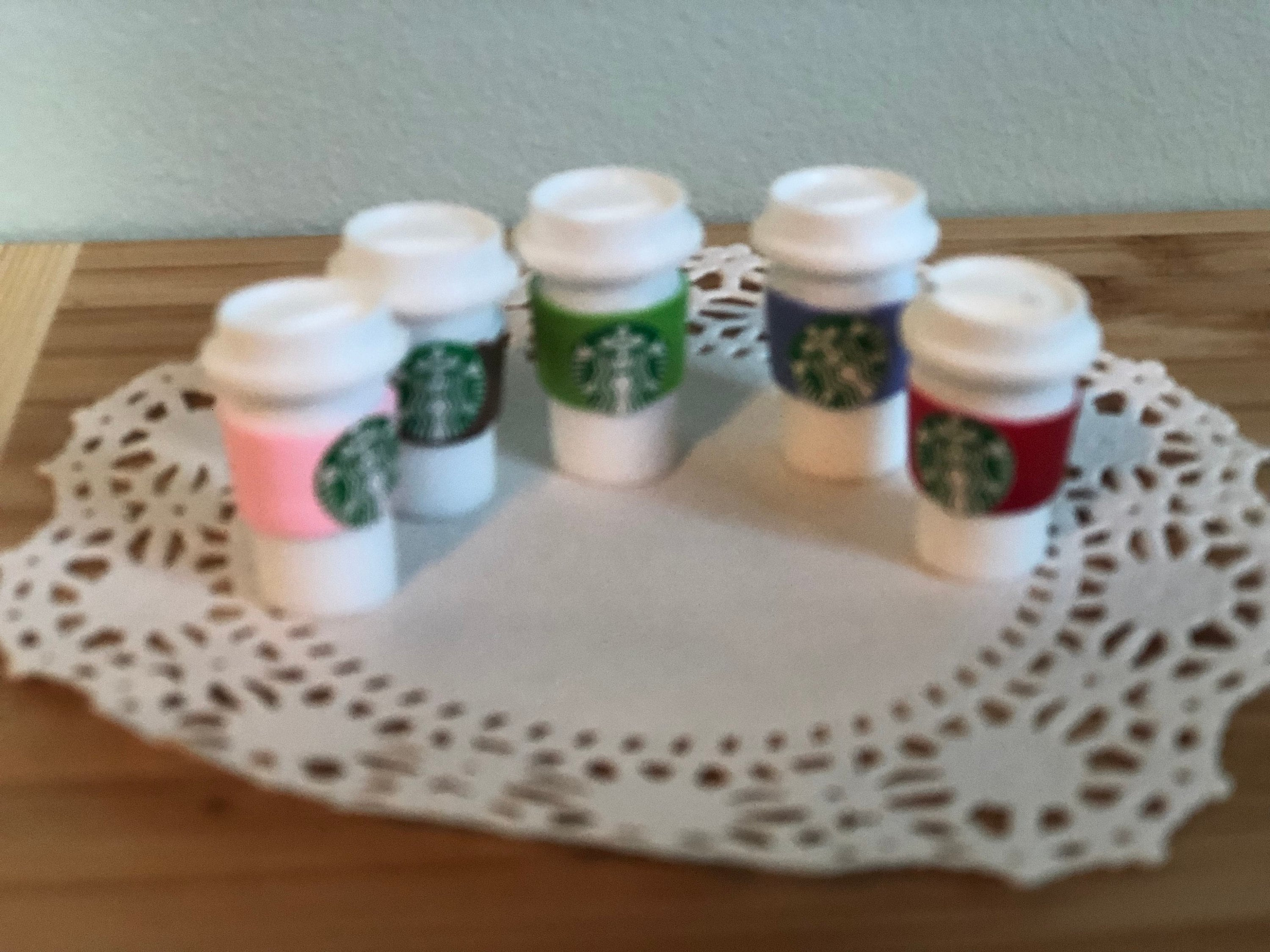 Discounted Resin Starbucks Tumbler Cups Cabochons 6 peices
