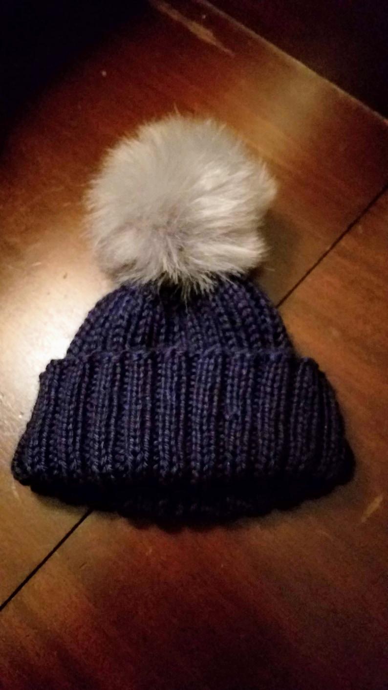 c43ba45613b Child Handknit Ribbed Hat with Gray Faux Fur Pom Pom Soft