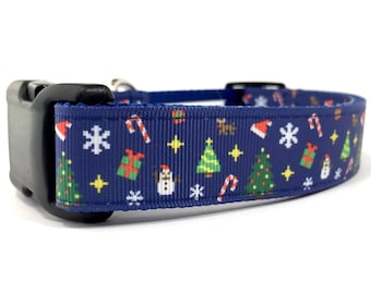 """1"""" Wide Pixelated Festive Christmas Holiday Adjustable Dog Collar with Plastic Side Release Buckle"""