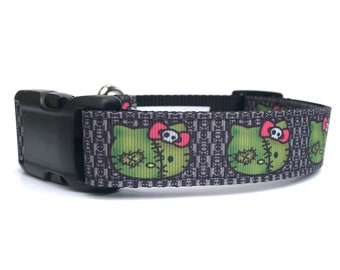 "1"" Wide Franken-Kitty Adjustable Pet Dog Collar with Plastic Side Release Buckle"