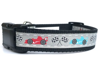 """1"""" Wide Race Cars Adjustable Pet Dog Collar with Plastic Side Release Buckle"""