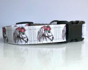 Small Dog Collar - White Horse - Equestrian