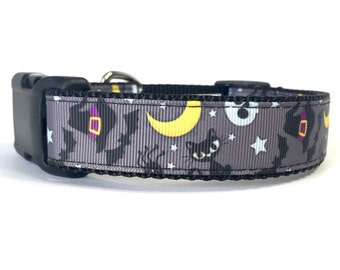 """1"""" Wide Black and Grey Halloween Night Adjustable Pet Dog Collar with Plastic Side Release Buckle"""