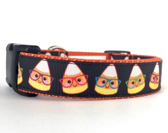"""1"""" Wide Halloween Nerdy Candy Corn Adjustable Pet Dog Collar with Plastic Side Release Buckle"""