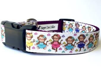 "1"" Wide Dancing Ballerina Monkeys in Tutus Adjustable Pet Dog Collar with Plastic Side Release Buckle"