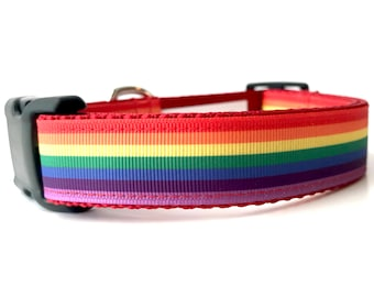 """1"""" Wide Rainbow Adjustable Pet Dog Collar with Plastic Side Release Buckle"""