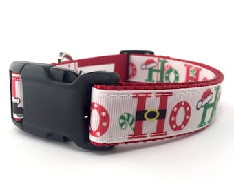 """1"""" Wide Festive Christmas Holiday Adjustable Dog Collar with Plastic Side Release Buckle"""