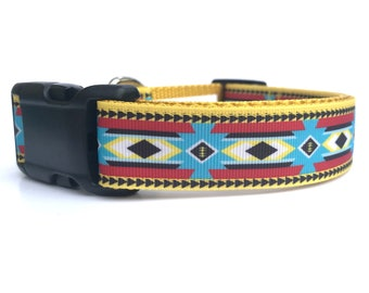 """1"""" Wide Southwest Native American Inspired Adjustable Pet Dog Collar with Plastic Side Release Buckle"""