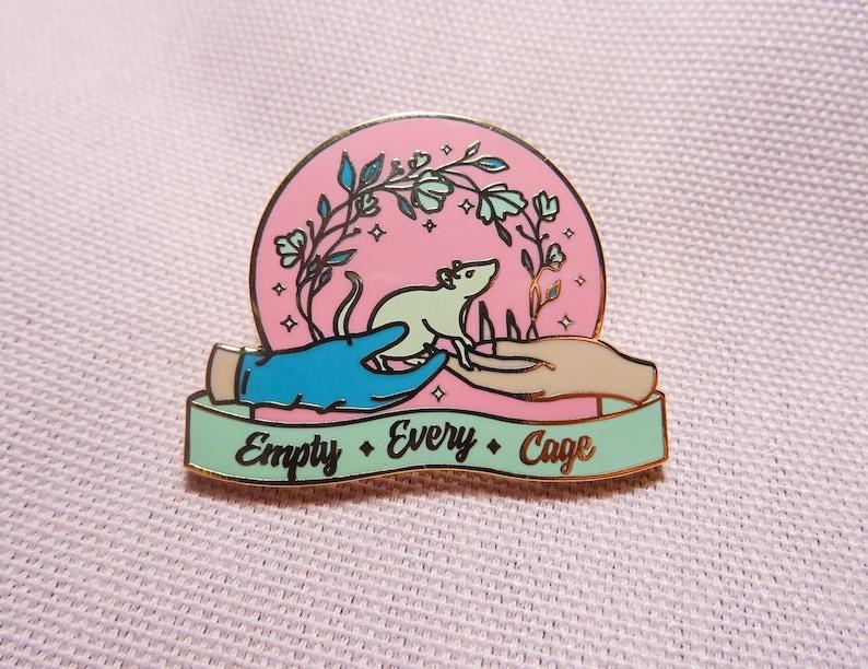 Activist Pin | Pastel Enamel Pin | Backpack Pins | Rat Lover Gift | Vegan  Enamel Pin |