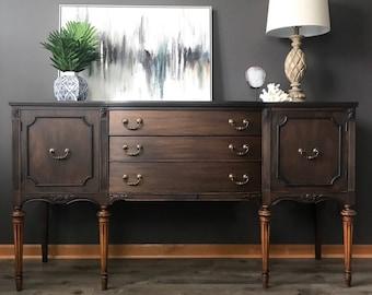 Modern Dark Wood Credenza : Used credenza modern mid century danish vintage furniture shop