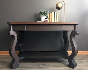 SOLD-Empire Library Table, Vintage Writing Desk, Traditional Console Table, Modern, Solid Wood, Living Room, Office, Entryway, Classic