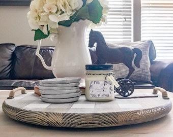 White Buffalo Check Wood Tray, Lazy Susan, Handmade, Home Decor, Farmhouse,  Decorative Tray, Coffee Table Tray, Rustic Serving Tray, Gift