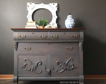 SOLD- Antique Victorian Buffet, Traditional Sideboard, Solid Wood, Dining Room Storage, Entryway Console, Entertainment Center, Living Room