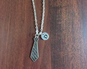 necktie initial charm necklace, necktie charm, personalized jewelry EA79