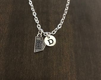 rhode island state initial charm necklace USA charm,rhode island state necklace SC39 USA chain