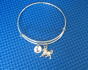 horse racing initial Bracelet, horse racing Bracelet Bangle, gift for horse riders , CP20