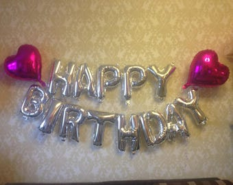 happy birthday silver foil balloon 16 inch