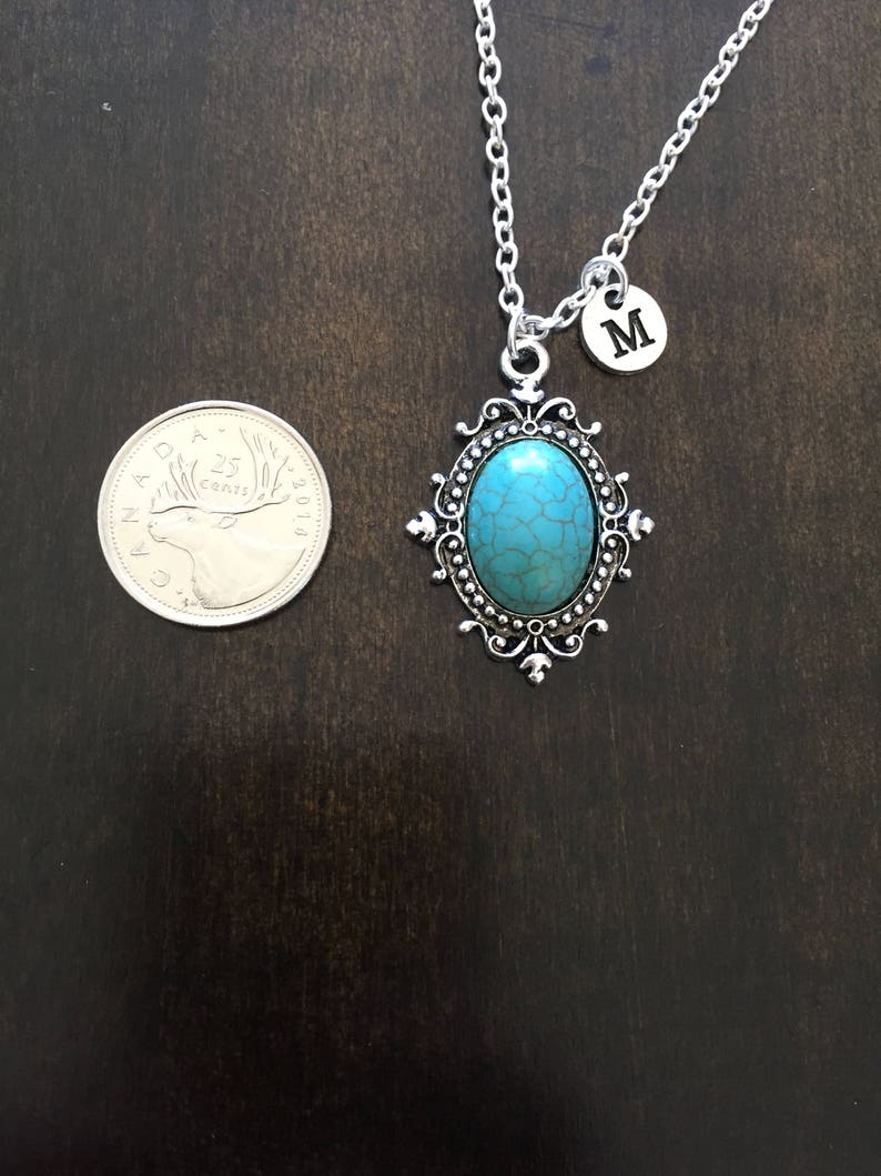 Jewelry faux turquiose  necklace Silver Jewelry faux turquiose initial necklace