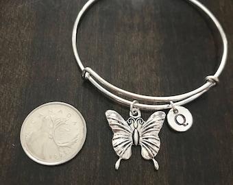 butterfly initial Bracelet, butterfly Jewelry,  butterfly Charm Bracelet, butterfly Bangle, Stack Bangle CP181