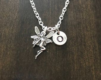 tinkerbell initial necklace, tinkerbell necklace, Jewelry, Silver Jewelry, charm chain CP101