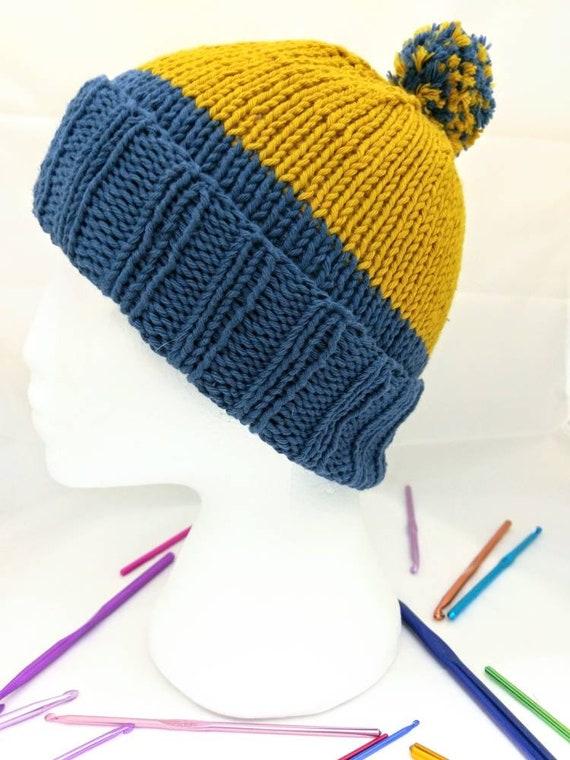 f828902dd87 Bold knit bobble hat beanie colour block pom pom hat