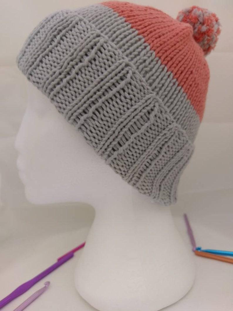 Bold knit bobble hat colourful beanie hat  828e83ec6e6