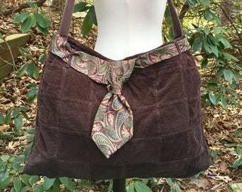 Brown Corduroy Skirt Tote Shoulder Bag with Paisley Necktie Accent