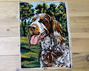 Springer spaniel, springer spaniel art, springer spaniel dog, Vintage French, Needlepoint, Tapestry, Wall Hanging, Tapestries, Dog gifts,