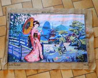 canevas, Japanese gifts tapestry canevas tapestries Needlepoint needle points Japan lady geisha women Japanese canvas Japanese art