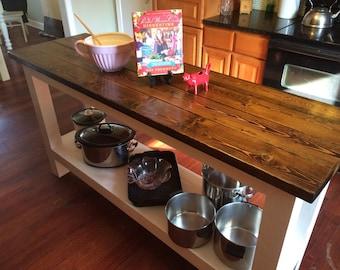 Farmhouse Kitchen Island, Rustic Kitchen Island, Kitchen Furniture, Farm Counter Height Table, Farm Table, Kitchen Island with Shelf