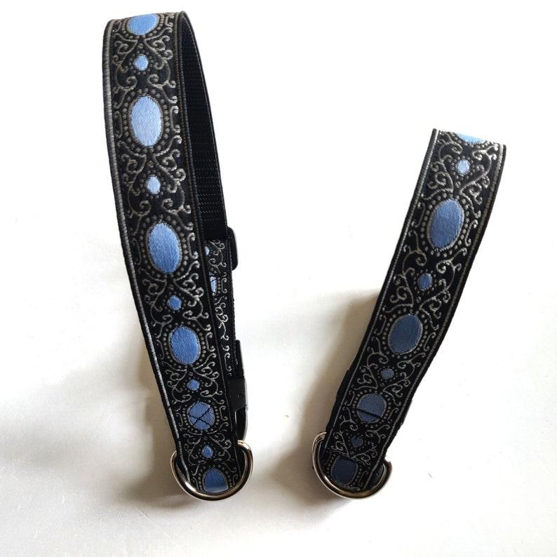 Beautiful black and blue satin dog collar.
