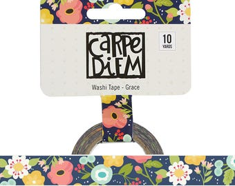 GRACE Floral Faith Washi Tape Carpe Diem Planner accessories, washi masking tape, paper tape, 15mm x 10 yards (7727)