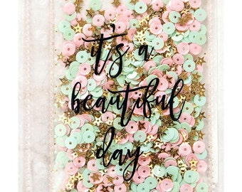 "PLANNER SHAKER Adornment, ""It's a beautiful day"" My Prima Planner Frank Garcia planner pink and gold sequin shaker,  (992514)"