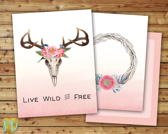 Live Wild Free Printable Planner Cover Deer Skull Floral Etsy